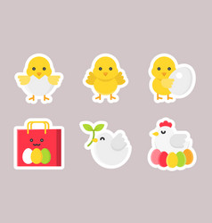 easter flat sticker icon set vector image