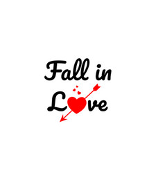 fall in love word text typography design logo icon vector image