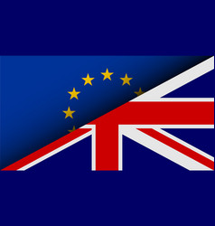 Flags of eu and uk divided on half brexit theme vector
