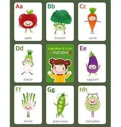 Flashcard alphabet from A to H vector image