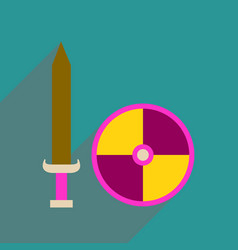 Flat web icon with long shadow sword shield vector