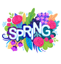 fresh spring background with colorful flowers vector image