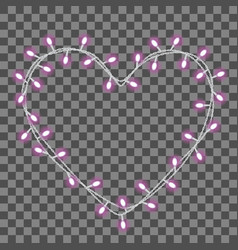 garland in the form shape of heart with glowing vector image