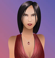 Girl portrait dark hair with pendant vector image