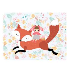 Girl riding fox in pastel spring flower seamless vector