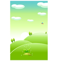 Green landscape and water falling on new plant vector