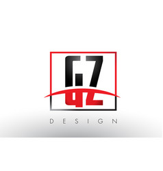 Gz g z logo letters with red and black colors and vector