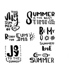 Hand drawn brush lettering summertime concept vector