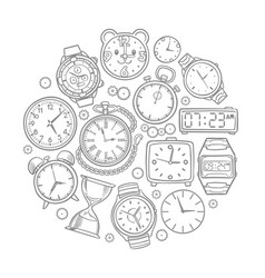 Hand drawn clock wrist watch doodles time vector
