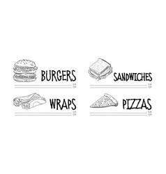 hand drawn menu fast food cafe sketch vector image