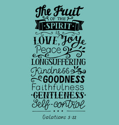 Hand lettering the fruit of the spirit vector