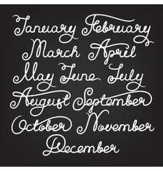 Handwritten months of the year vector