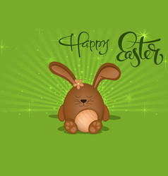 happy easter greeting card with brown bunny vector image