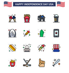 Happy independence day 4th july set 16 flat vector
