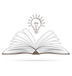 idea concept opened book with light bulb vector image
