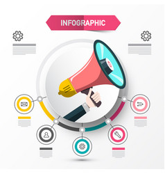 infographic concept with megaphone data flow vector image
