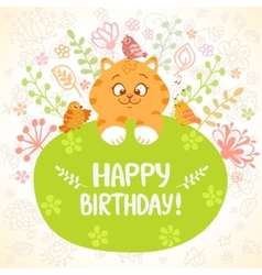 Kitten birthday vector