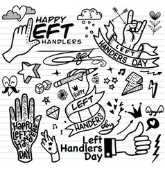 Left handers day hand drawn tattoo style vector