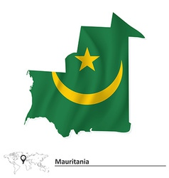 Map of Mauritania with flag vector