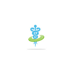 Medic health snake symbol logo vector
