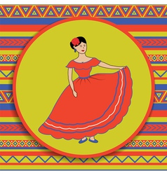 mexican woman on patterned background vector image