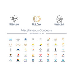 miscellaneous concepts creative symbols set idea vector image