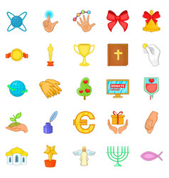 offering icons set cartoon style vector image
