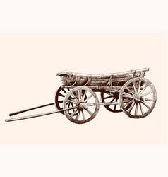 Old wooden cart vector
