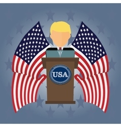 President USA speaks to people from tribune vector