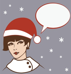 pretty santa girl vector image