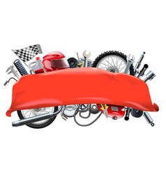 red banner with motorcycle spares vector image