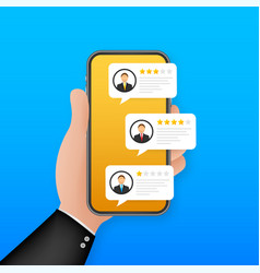 Review rating bubble speeches on mobile phone vector