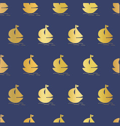 sailboats gold foil seamless background vector image
