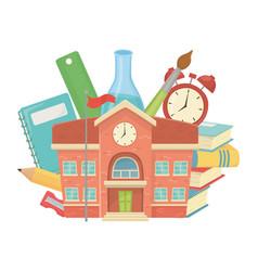 School building and supplies design vector