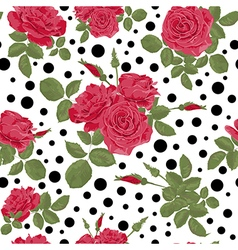Seamless flowers of red roses pattern vector image