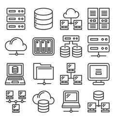 server internet and network icons set on white vector image
