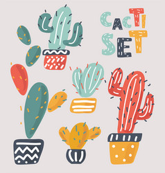 set of beautiful cacti vector image