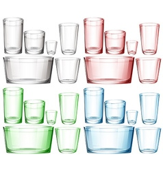 Set of glassware in different colors vector image