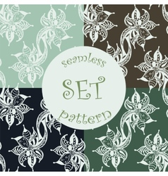 set zentangl seamless pattern vector image