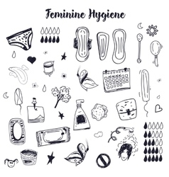 Sketch Feminine hygiene big set with tampon vector image