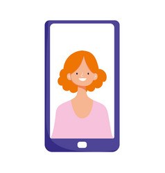 smartphone woman in screen video isolated icon vector image