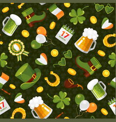 st patricks day flat color seamless vector image