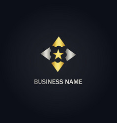 Star geometry abstract gold logo vector