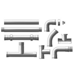 steel pipes bolted connectors realistic set vector image