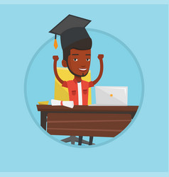 student using laptop for education vector image