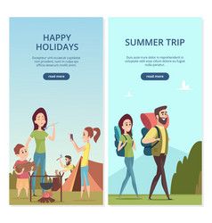 summer camping banners family trip vector image