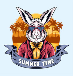 summer rabbits partying on beach vector image