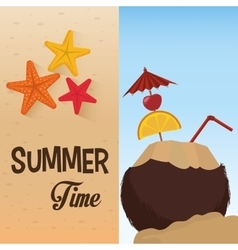 Summer time cocktail coconut star sand beach vector