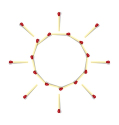 Sun Symbol Made from Matches vector image