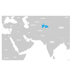 Tajikistan blue marked in political map south vector